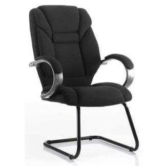 An Image of Galloway Fabric Cantilever Visitor Chair In Black With Arms