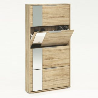An Image of Rosana Mirrored Shoe Cabinet In Brushed Oak With 4 Flap Doors
