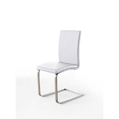 An Image of Pauline White Faux Leather Dining Chair With Chrome Legs