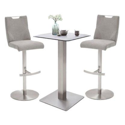 An Image of Soho Glass Bar Table With 2 Jiulia Ice Grey Fabric Stools