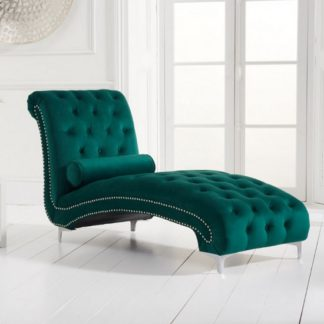 An Image of Mulberry Modern Fabric Lounge Chaise In Green Velvet