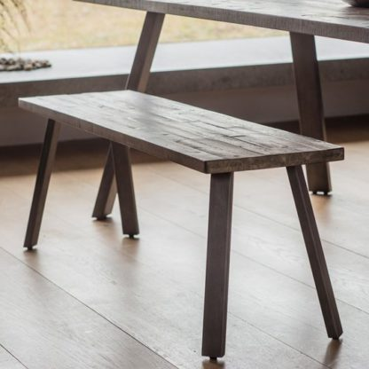 An Image of Camden Wooden Dining Bench In Rustic