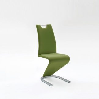 An Image of Amado Dining Chair In Olive Faux Leather With Chrome Base