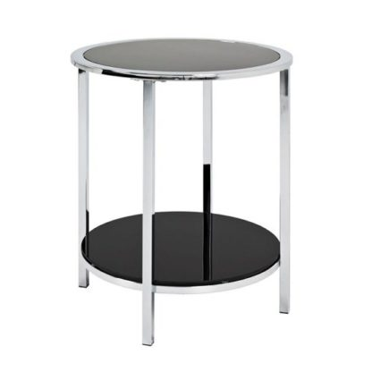 An Image of Liam Glass End Table Round In Black With Chrome Frame