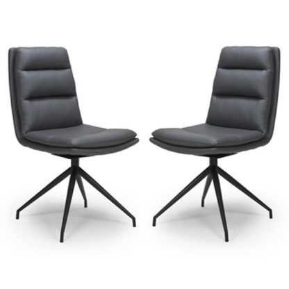 An Image of Nobo Grey Faux Leather Dining Chair In A Pair With Black Legs