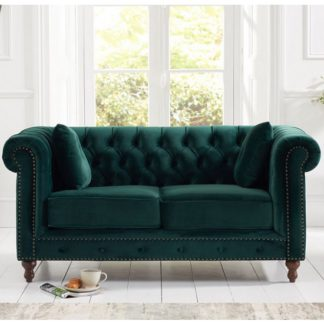 An Image of Mentor Modern Fabric 2 Seater Sofa In Green Plush