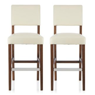 An Image of Vibio Bar Stools In Cream PU With Walnut Legs In A Pair