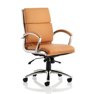 An Image of Olney Bonded Leather Office Chair In Tan With Medium Back