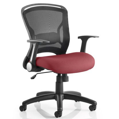 An Image of Mendes Contemporary Office Chair In Chilli With Castors