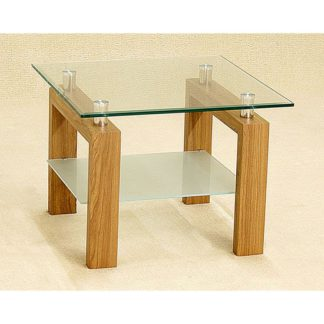 An Image of Alina Clear Glass Lamp Table With Frosted Undershelf Oak Legs