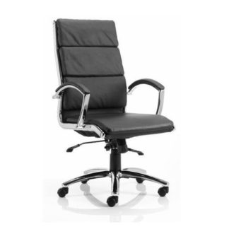 An Image of Olney Bonded Leather Office Chair In Black With Arms High Back
