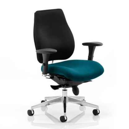 An Image of Chiro Plus Black Back Office Chair With Maringa Teal Seat