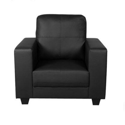 An Image of Queensland Sofa Chair In Black PU Leather
