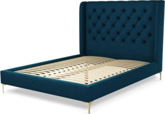 An Image of Custom MADE Romare King size Bed, Navy Wool with Brass Legs