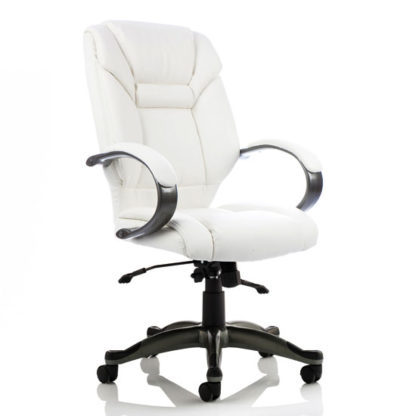 An Image of Galloway Leather Executive Office Chair In White With Arms