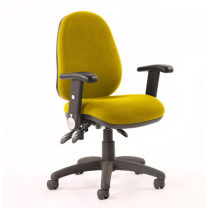 An Image of Luna II Office Chair In Senna Yellow With Folding Arms