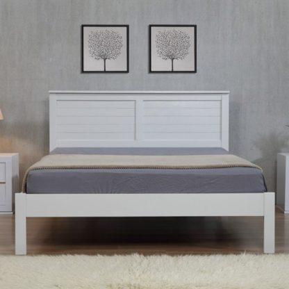An Image of Wilmot Wooden 4 Foot Bed In Grey