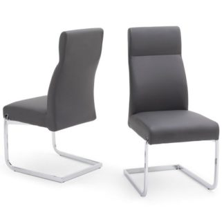 An Image of Swiss Cantilever Dining Chair In Grey Faux Leather In A Pair
