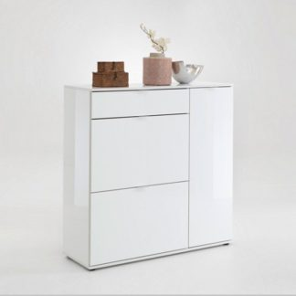 An Image of Portino Shoe Cabinet In White Gloss With 3 Doors
