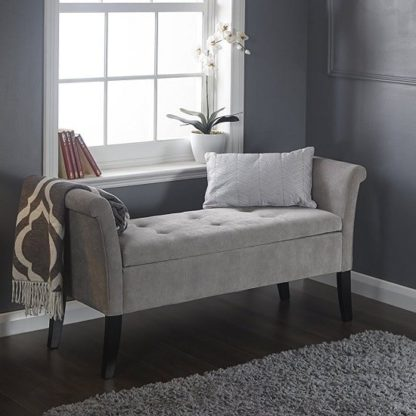 An Image of Keswick Ottoman Seat In Silver Chenille Fabric With Dark Legs