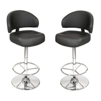 An Image of Casino Black Leather Bar Stool In Pair