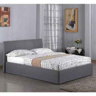 An Image of Fusion Linen Fabric Storage Single Bed In Grey