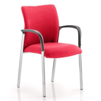 An Image of Academy Fabric Back Visitor Chair In Bergamot Cherry With Arms