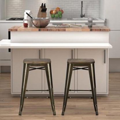 An Image of Fusion Bronze Metal Backless Counter Stool In Pair