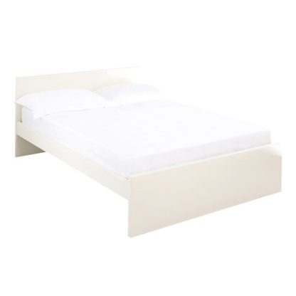 An Image of Curio Cream High Gloss Finish King Size Bed