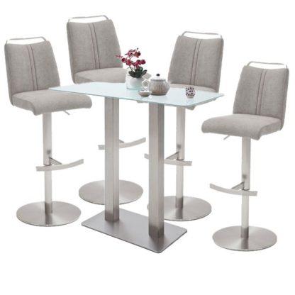 An Image of Soho White Glass Bar Table With 4 Giulia Ice Grey Fabric Stools