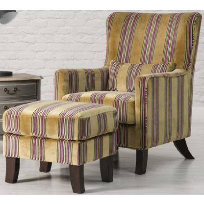 An Image of Humphrey Fabric Accent Chair And Footstool In Gold