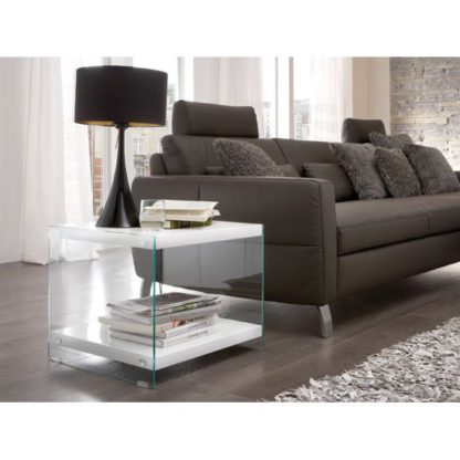 An Image of Olympic High Gloss Top Side Table With Side Glass Panels