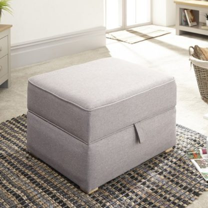 An Image of Orbis Fabric Storage Foot Stool Square In Light Grey Hopsack