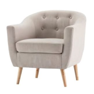 An Image of Morrill Woven Fabric Accent Chair In Natural With Oak Legs