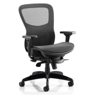 An Image of Stealth Shadow Ergo Fabric Office Chair In Black Mesh Seat