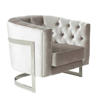 An Image of Lincoln Accent Chair In Grey Velvet And Polished Steel Frame