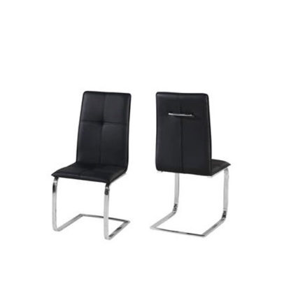 An Image of Foster Dining Chair In Black Faux Leather In A Pair