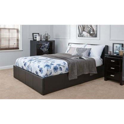 An Image of End Lift Ottoman Double Bed In Black