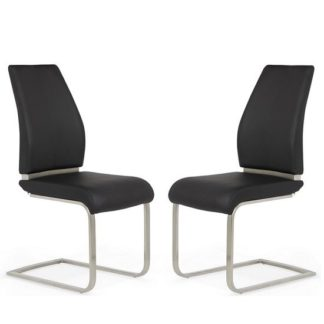 An Image of Dawlish Dining Chair In Black Faux Leather In A Pair