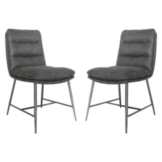 An Image of Romy Hickory Fabric Dining Chairs In Pair