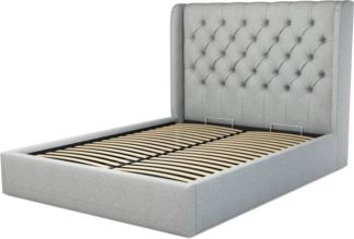 An Image of Custom MADE Romare King size Bed with Ottoman, Wolf Grey Wool