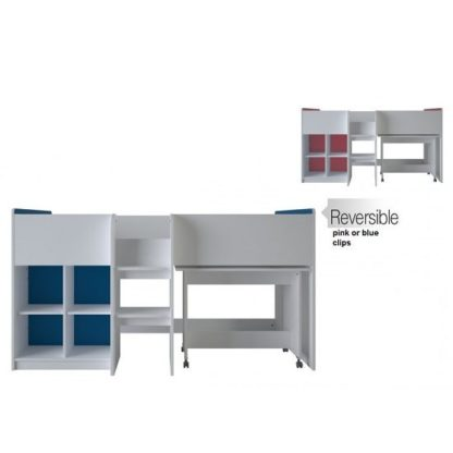 An Image of Delphi Mid Sleeper Bed In Pearl White With Desk