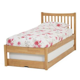 An Image of Alice Hevea Wooden Single Bed With Guest Bed In Honey Oak