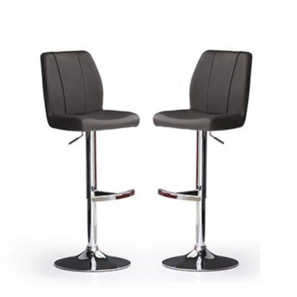 An Image of Naomi Bar Stools In Black Faux Leather in A Pair
