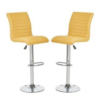 An Image of Ripple Bar Stools In Curry Faux Leather In A Pair