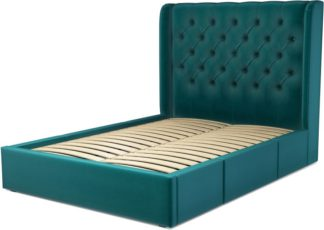 An Image of Custom MADE Romare Double size Bed with Drawers, Tuscan Teal Velvet
