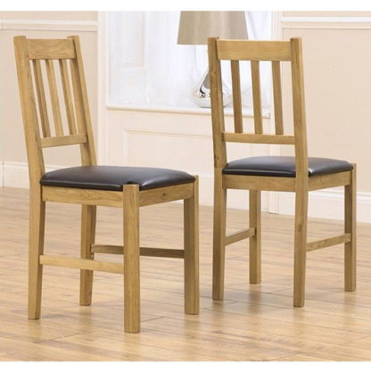 An Image of Elnath Solid Oak Dining Chair With Black PU Leather Seat In Pair