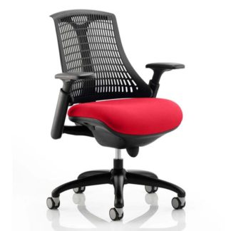 An Image of Flex Task Black Back Office Chair With Bergamot Cherry Seat