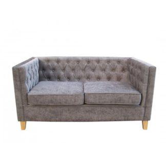 An Image of Yorick Contemporary Slate Grey Finish Chenille Style Fabric Sofa
