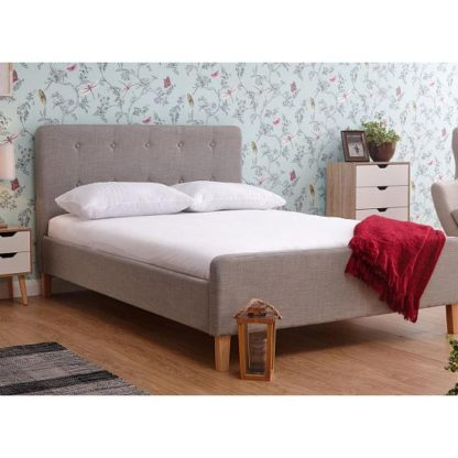An Image of Ashbourne Wooden Double Bed In Light Grey